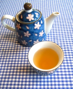 Brewed rose hip-mint tea